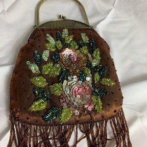 Handbags - Beautiful shimmer bronze embroidered beaded bag